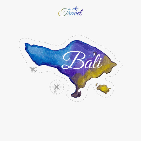 Travel around the  world. Bali. Watercolor map Vectores