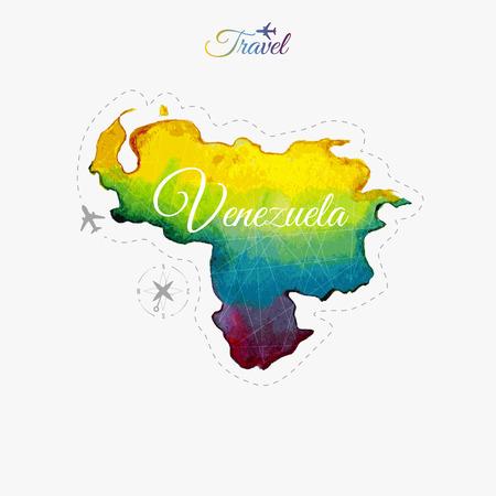 Travel around the  world. Venezuela. Watercolor map