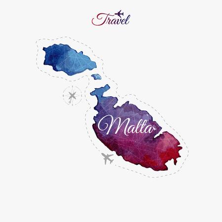 map malta: Travel around the  world. Malta. Watercolor map Illustration