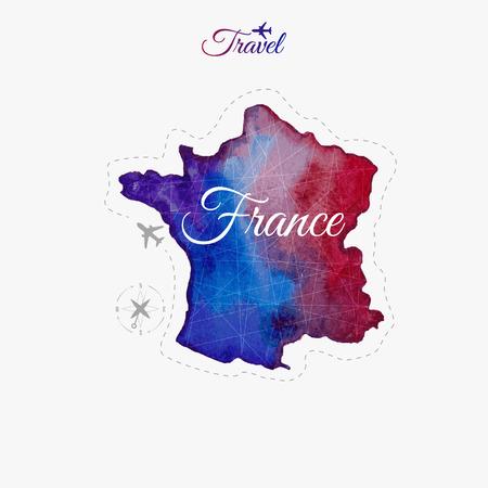 Viaggiare in tutto il mondo. Francia. Acquerello mappa Archivio Fotografico - 43668405