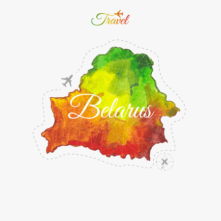 Travel around the  world. Belarus. Watercolor map