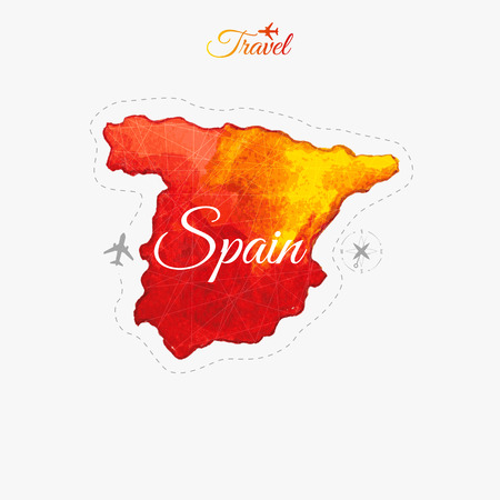 madrid spain: Travel around the  world. Spain. Watercolor map