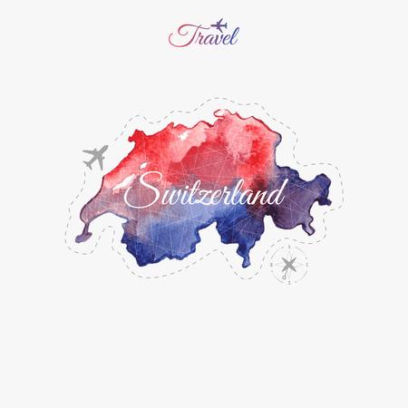 Travel around the  world. Switzerland. Watercolor map Illustration