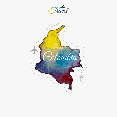 south america: Travel around the  world. Colombia. Watercolor map