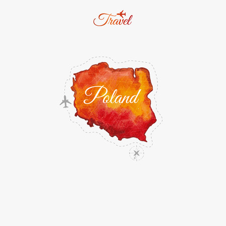 poland: Travel around the  world. Poland. Watercolor map