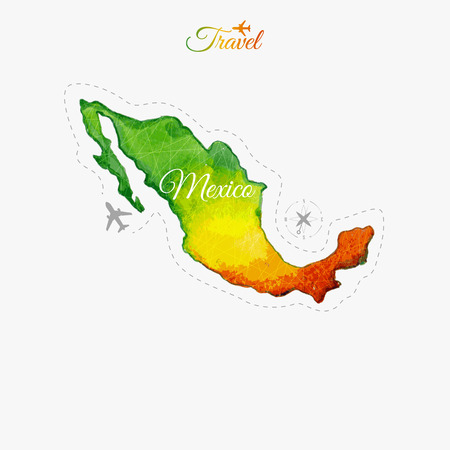 mexico map: Travel around the  world. Mexico. Watercolor map Illustration