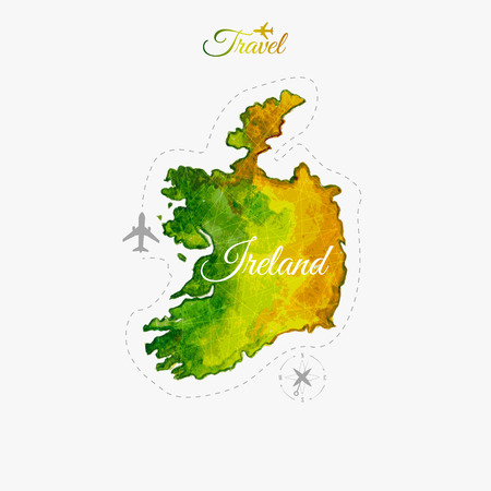 eire: Travel around the  world. Ireland. Watercolor map