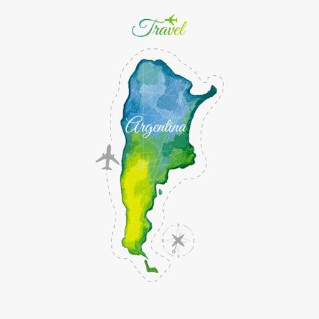 america del sur: Viajar alrededor del mundo. Argentina. Mapa Acuarela
