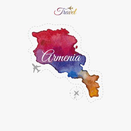 map of armenia: Travel around the  world. Armenia. Watercolor map