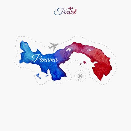 Travel around the  world. Panama. Watercolor map