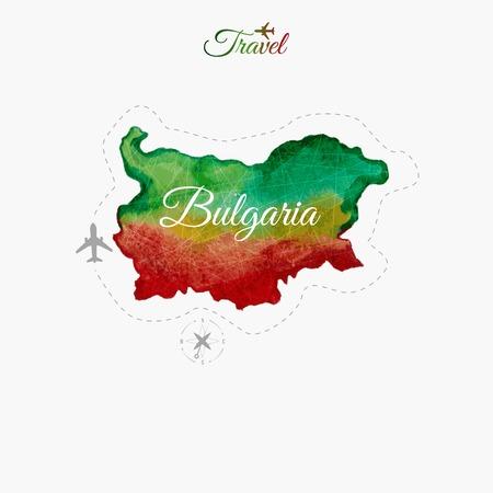 bulgaria: Travel around the  world. Bulgaria. Watercolor map Illustration
