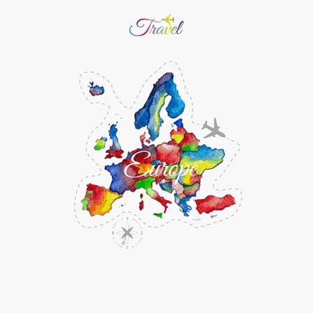 世界中を旅します。ヨーロッパ。水彩の地図  イラスト・ベクター素材