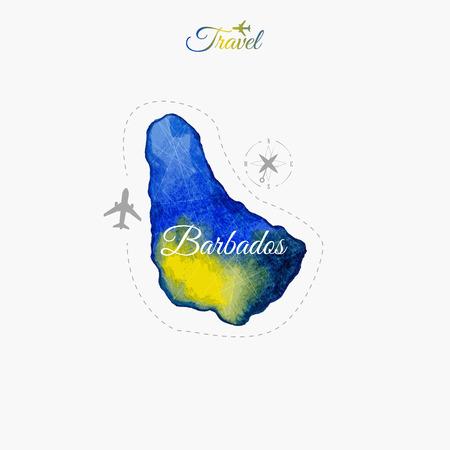 Travel around the  world. Barbados. Watercolor map Çizim