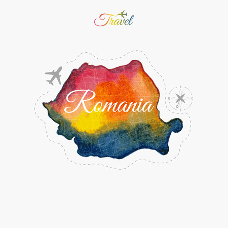 delineation: Travel around the  world. Romania. Watercolor map Illustration