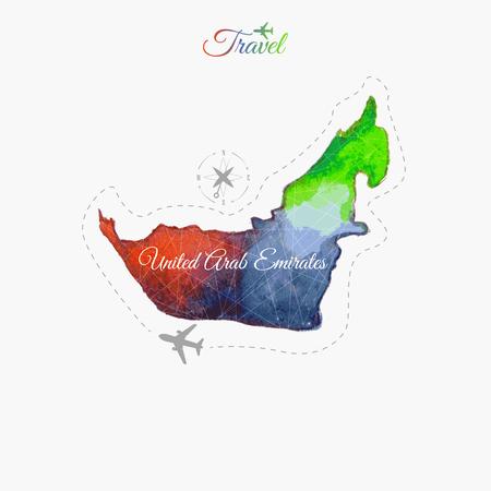 emirates: Travel around the  world. United Arab Emirates. Watercolor map