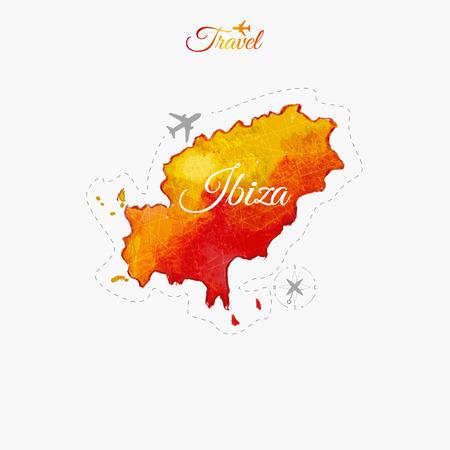 ibiza: Travel around the  world. Ibiza. Watercolor map Illustration