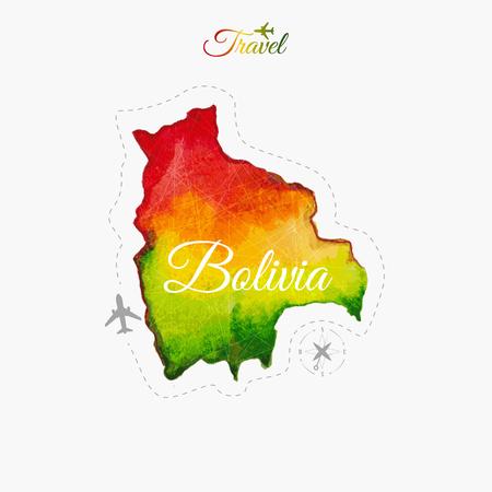 bolivia: Travel around the  world. Bolivia. Watercolor map