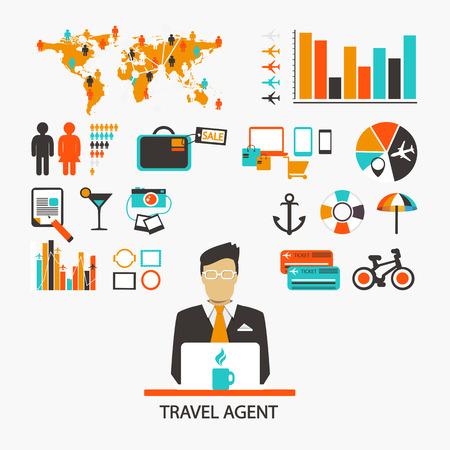 agencia de viajes: Agente de viajes. Infografía. Conjunto de elementos e iconos Vectores