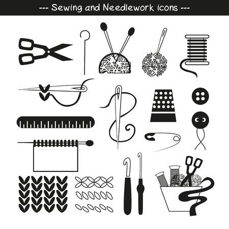 maquinas de coser: Iconos de coser y elementos de dise�o en blanco y negro. Vectores