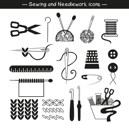sewing buttons: Sewing  icons and design elements in black and  white.
