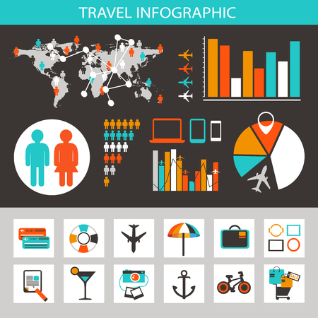 statistic: Travel infographic with icons and elements. Set of elements and icons