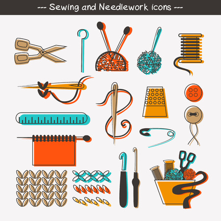 knitting: Set of sewing colorful elements and icons. Illustration