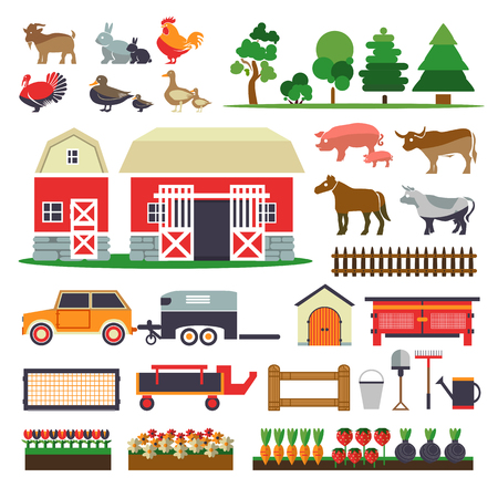 barns: Set of elements for farm.  Farm collection.