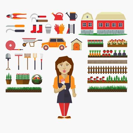 corbeille de fruits: Ensemble d'éléments pour l'horticulture avec jardinier. Illustration