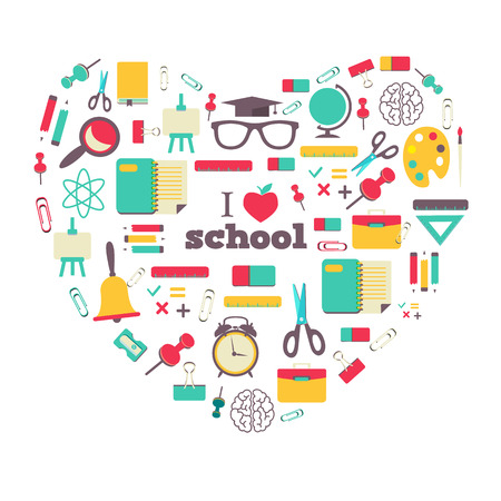 vintage card: Colorful school elements and icons in heart. Illustration