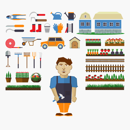 원예: Set of elements for horticulture with gardener.