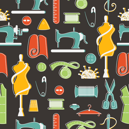 Sewing and tailor elements in seamless colorful pattern.