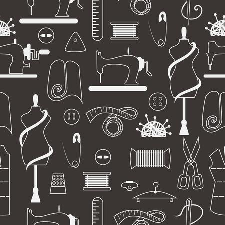 Näh- und Schneider Elemente in nahtlose Muster. Nähmaschine, Textil-, Schere, Nähen und andere Gegenstände