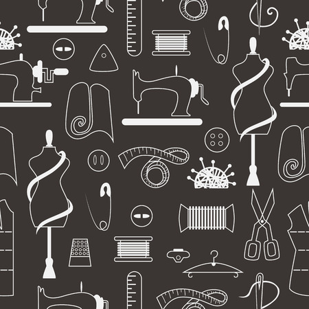 textile machine: Sewing and tailor elements in seamless pattern. Sewing machine, textile, scissors, sewing and other items