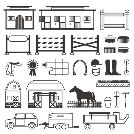 bridle: Horse Riding set. Horse stable, transporter, box, barn. Fence with gate and show jumping set.