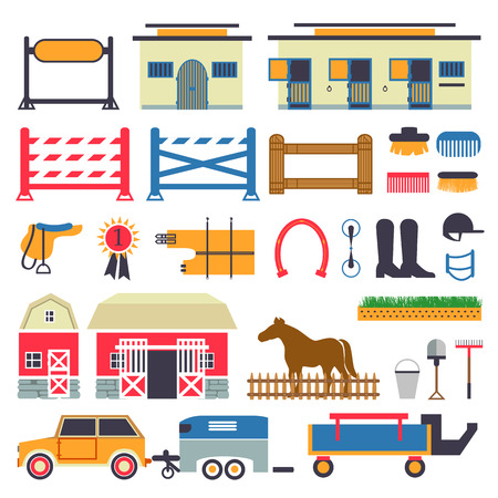 cavallo che salta: Equitazione set. Stalla, trasportatore, contenitore, fienile. Recinzione con cancello e salto ostacoli set Vettoriali
