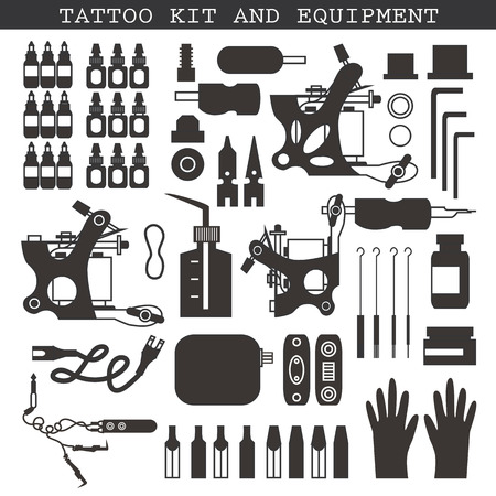 set: Tattoo kit and icons in black and white. Illustration