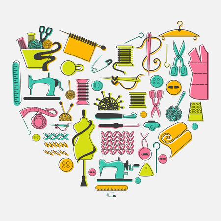 coser: Me encanta la costura y la costura conjunto. Sastrería, costura, equipos y elementos en el corazón. Vectores