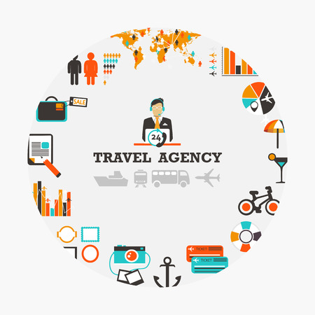 Travel agency emblem with man and icons.