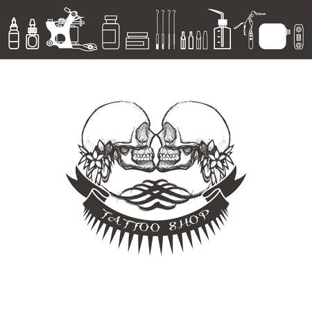 Tattoo shop, emblem. Two skulls with ribons and tattoo kit.