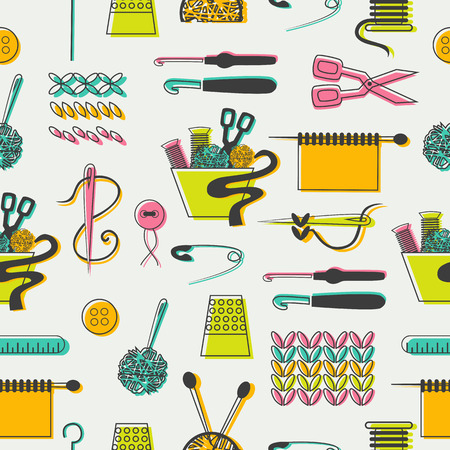 knitting: Tailoring and sewing icons and elements in pattern.