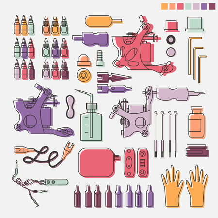 Tattoo kit and equipment. Tattoo machine, power box, clip and pedal, needles, grips and tools Illustration