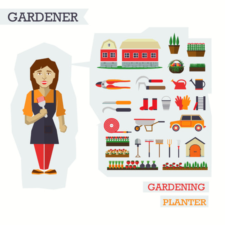horticulture: Set of elements for horticulture with woman