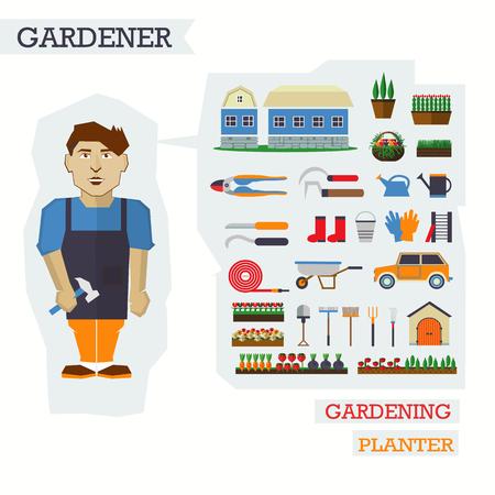 원예: Set of elements for horticulture with man gardener. 일러스트