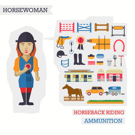 horseback riding: Set of elements for horseback riding with woman.