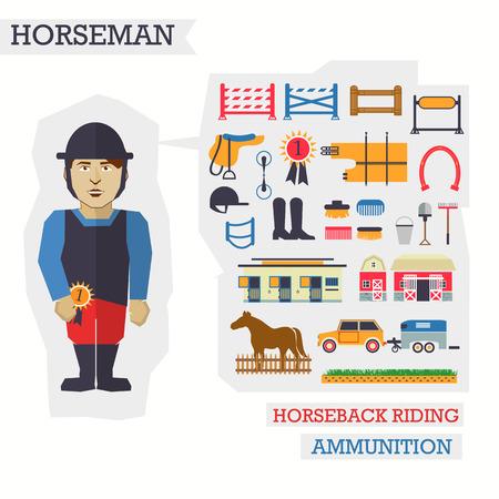 stirrup: Set of elements for horseback riding with man.