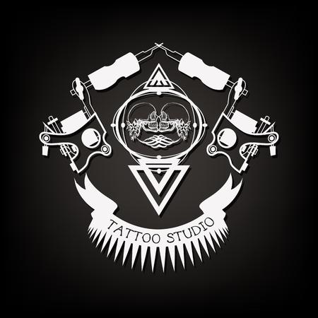Tattoo shop logo, emblem in black and white.