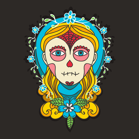 day of the dead: Day of dead with  skull girl and marigold.