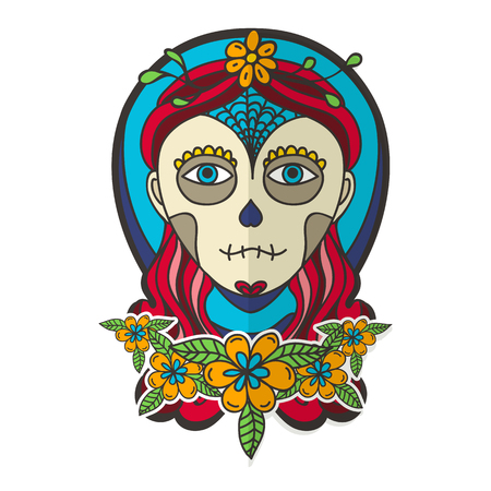 elegant girl: Day of dead with skull girl and marigold.