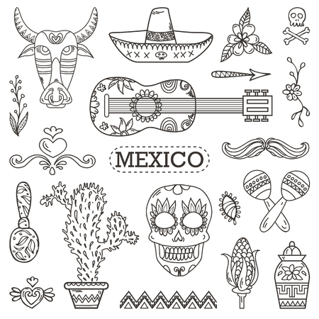 nachos: Set of Mexican traditional and cultural elements and icons.