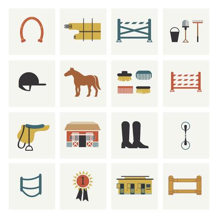 stirrup: Set of horseback colorful riding icons and elements.